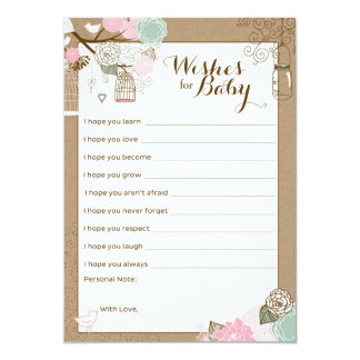 """Baby Shower Advice Card - Hanging Cages & Jars 5"""" X 7"""" Invitation Card"""