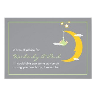 Baby Shower Advice Card Moon and Stars
