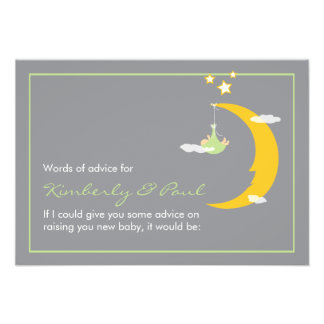 Baby Shower Advice Card Moon and Stars
