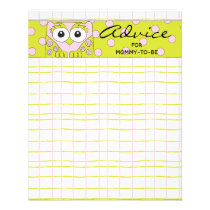 """Baby Shower Advice Card """"Pink Green Owl"""""""