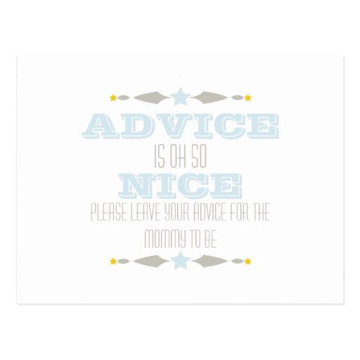 baby shower advice card postcards