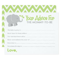 Baby Shower Advice Cards | Elephant Gray and Green