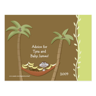 Baby Shower Advice Cards Monkey Around Green/Brown