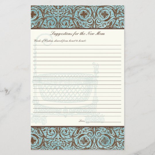 Baby Shower Advice For New Mom Blue Brown Damask Zazzle