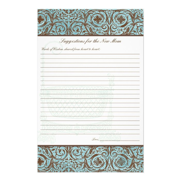 Baby Shower Advice for New Mom - Blue Brown Damask Flyer
