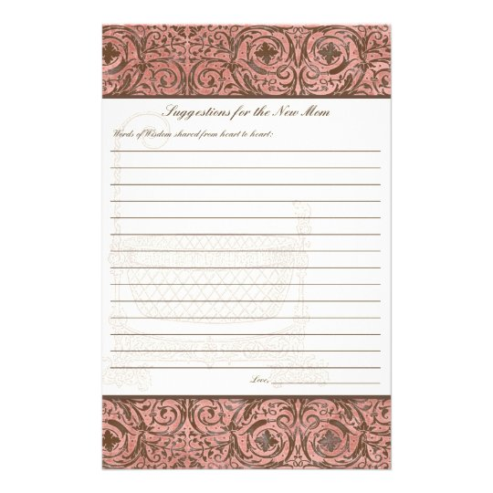 Baby Shower Advice for New Mom - Pink Brown Damask Flyer