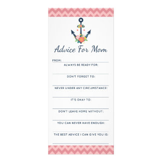 Baby Shower Advice Game Nautical Floral Anchor Rack Card