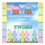BABY SHOWER AFRICAN AMERICAN TWIN BOY & GIRL 5.25X5.25 SQUARE PAPER INVITATION CARD