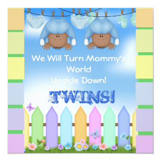 BABY SHOWER AFRICAN AMERICAN TWIN BOYS CARD