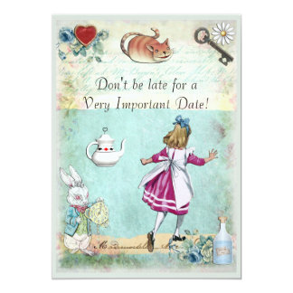 Baby Shower Alice in Wonderland Don't Be Late 5x7 Paper Invitation Card