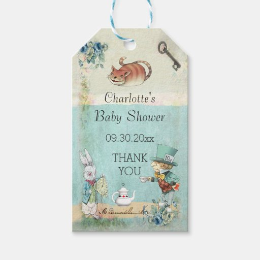 baby shower alice in wonderland thank you gift tags zazzle