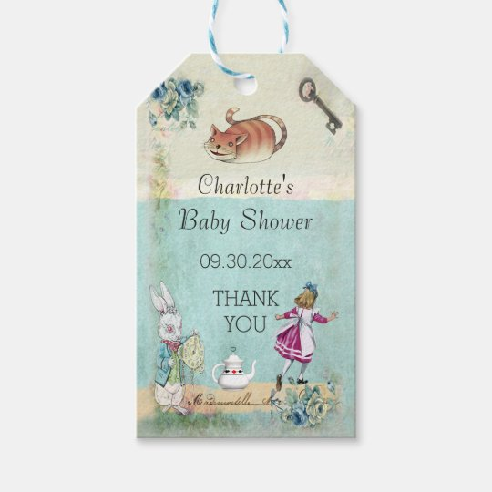 Baby shower alice in wonderland thank you gift tags for Alice in wonderland tags template
