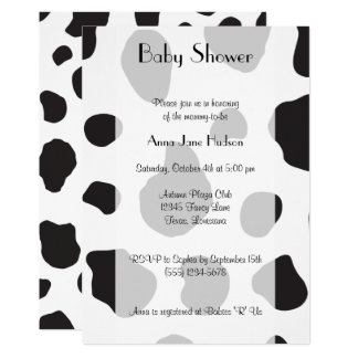 Baby Shower - Animal Print, Cow Spots - Black Card