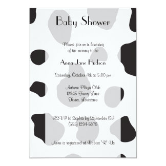 Baby Shower - Animal Print, Cow - White Black Personalized Invites
