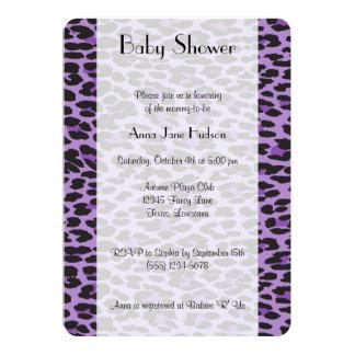 "Baby Shower - Animal Print, Leopard - Purple Black 5"" X 7"" Invitation Card"