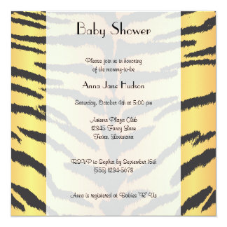 Baby Shower - Animal Print, Tiger Stripes - Yellow Invitation