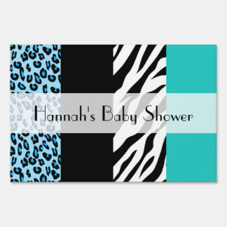 Baby Shower - Animal Print, Zebra, Leopard - Blue Sign