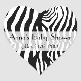 Baby Shower - Animal Print, Zebra Stripes - Black Heart Sticker