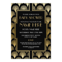 Baby Shower Art Deco 1920s Black & Gold Gatsby Invitation
