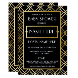 Baby Shower Art Deco 1920's Gold Mom Party Invite