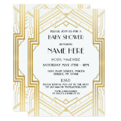 Baby Shower Art Deco 1920's Gold Party Invite 20s