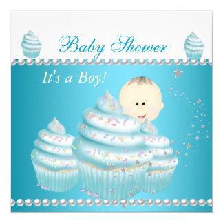 Baby Shower Baby Boy Blue Cupcake Sprinkle Invitation