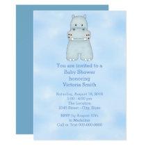 Baby Shower Baby Boy Blue Hippo Card