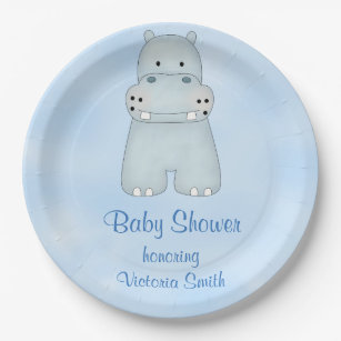Baby Shower Baby Boy Blue Hippo Paper Plate  sc 1 st  Zazzle & Baby Hippo Plates   Zazzle