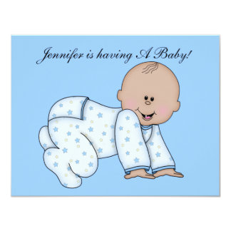 "Baby Shower, Baby Boy Invite CUTE 4.25"" X 5.5"" Invitation Card"
