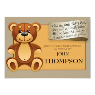 Baby Shower Baby BOY Teddy Bear Invitation Card