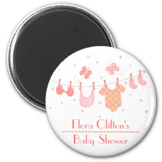 Baby shower: Baby clothes on clothesline 2 Inch Round Magnet
