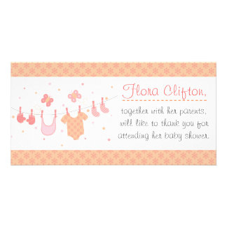 Baby shower: Baby clothes on clothesline Card