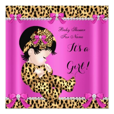 Toddler & Baby themed Baby Shower Baby Cute Girl Leopard Hot Pink Gold B Card