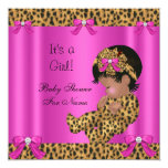 Baby Shower Baby Cute Girl Leopard Hot Pink Gold Card