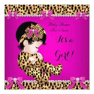 Baby Shower Baby Cute Girl Leopard Hot Pink Gold E Announcement