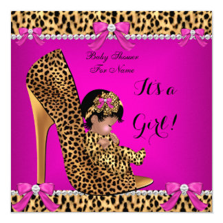 Baby Shower Baby Cute Girl Leopard Hot Pink Shoe C Card