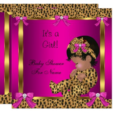 Toddler & Baby themed Baby Shower Baby Cute Girl Leopard Pink Gold 2 Card