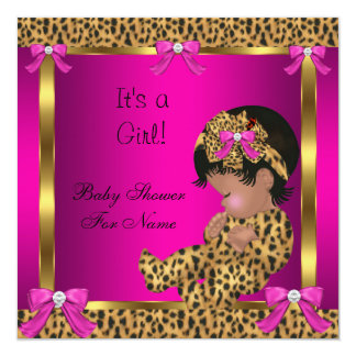Baby Shower Baby Cute Girl Leopard Pink Gold 2 Card