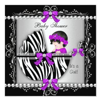 Baby Shower Baby Cute Girl Zebra Pram Silver 5.25x5.25 Square Paper Invitation Card
