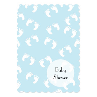 Baby Shower - Baby Footprints (Footsteps) - Blue 5x7 Paper Invitation Card