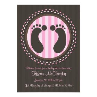 Baby Shower - Baby Footprints - Pink - Invitation