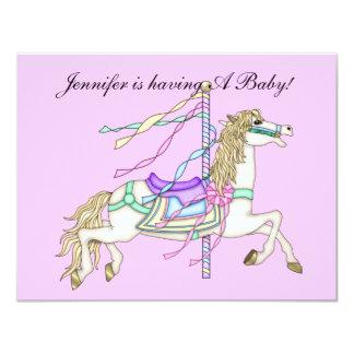 "Baby Shower, Baby Girl Carosel Horse Invite CUTE 4.25"" X 5.5"" Invitation Card"
