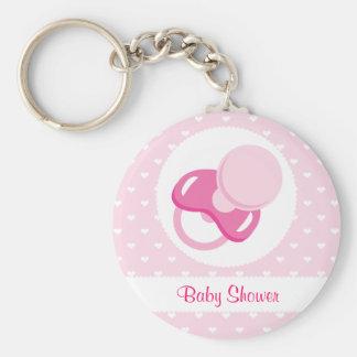 Baby Shower Baby Girl Design Basic Round Button Keychain