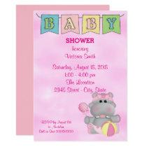 Baby Shower Baby Girl Hippo Card