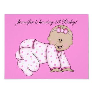 "Baby Shower, Baby GIRL Invite CUTE 4.25"" X 5.5"" Invitation Card"