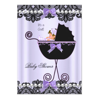 Baby Shower Baby Girl Lavender Purple Black Lace Card