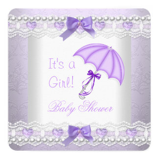 baby shower baby girl lavender white umbrella invitation