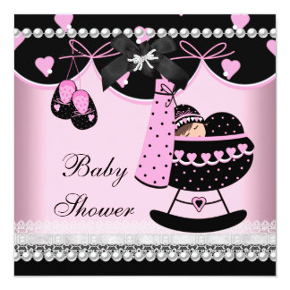 Baby Shower Baby Girl Pink Black Pearl Lace 5.25x5.25 Square Paper Invitation Card