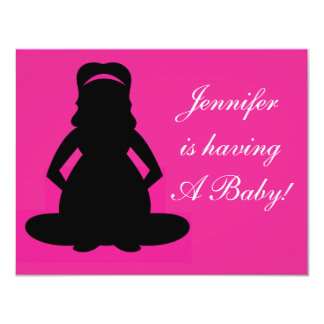 """Baby Shower, Baby Girl PINK Invite CUTE 4.25"""" X 5.5"""" Invitation Card"""