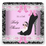 Baby Shower Baby Girl Pink Lace Heart Shoe Announcements